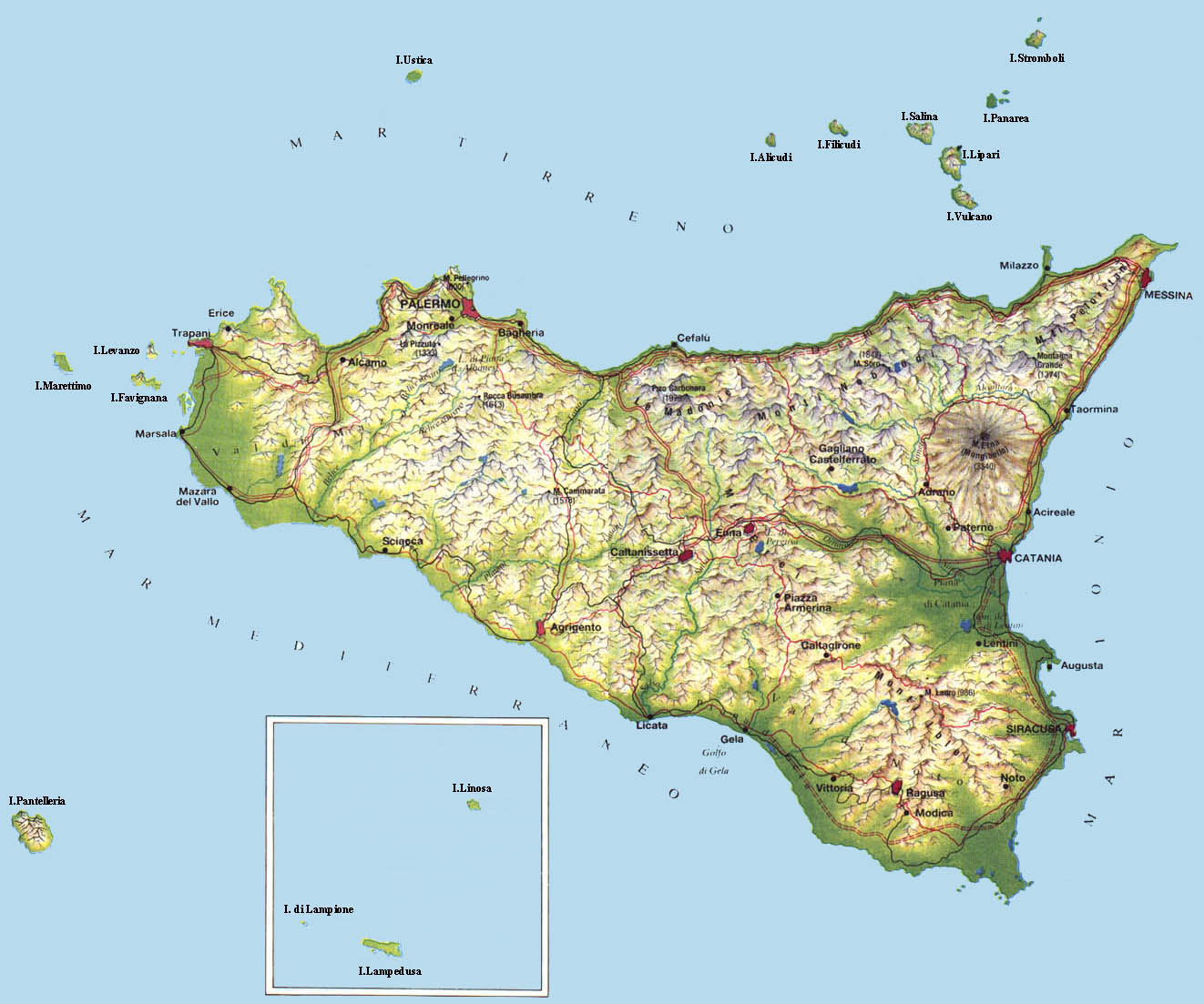 Sicilia Fisica Cartina.Sicilia Fisica Milanonera